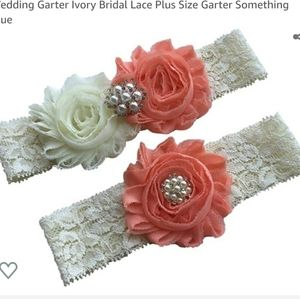 Ivory/Peach Lace Wedding Garter Set